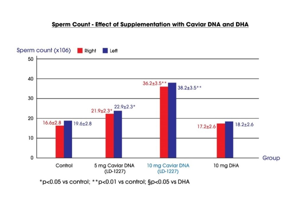 effect of supplement with caviar DNA and DHA on sperm count